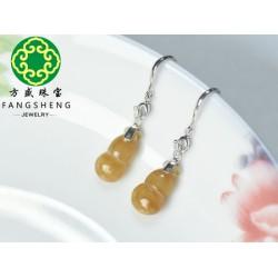 翡翠批发厂家——广东优质黄翡耳环供应商