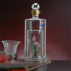 创意玻璃工艺耐高温酒瓶个性圆柱形内置花朵酒瓶