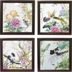 福满四季瓷板四斗方套组 非物质文化遗产传