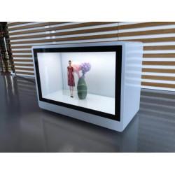 东莞惠华21.5透明橱窗展示柜、互动触摸液晶显示屏